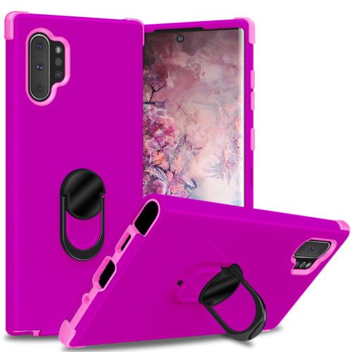 For Samsung Galaxy Note 10 Plus / Note 10 Pro Dual Layer Silicone Shockproof Defender Ring Stand Case Cover