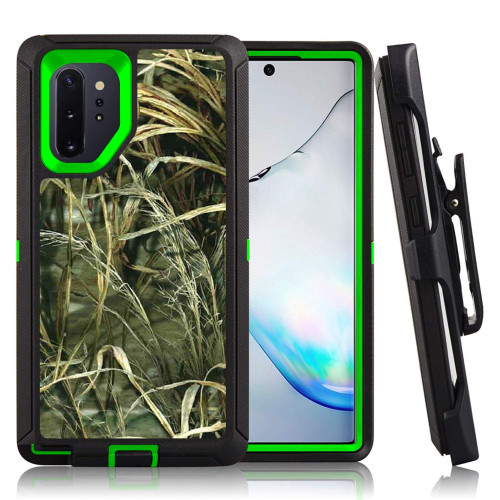 Samsung Galaxy Note 10 Plus / Note 10 Pro Heavy Duty Defender safety Hybrid Case Cover With Clip Camouflage/Green