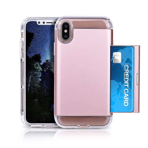 Apple Iphone X Dual Layer Soft Tpu Pc Protective Slidable Card Slot Case Cover Rose Gold