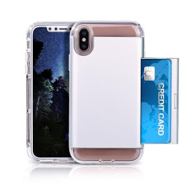 Apple Iphone X Dual Layer Soft Tpu Pc Protective Slidable Card Slot Case Cover Silver