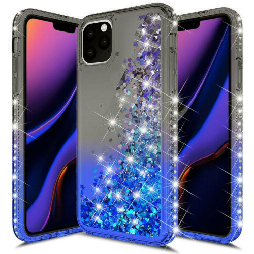 For Apple Iphone 11 Sparkling Glitter Liquid Floating Hearts Stars With Diamonds Case Cover