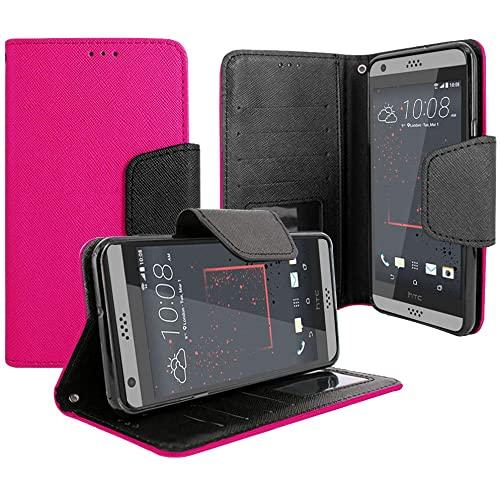Htc Desire 530 / Desire 630 Magnetic Flap Streak Leather Wallet Pouch Case Cover Pink