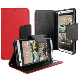 Htc Desire 626 / 626S Magnetic Flap Streak Leather Wallet Pouch Case Cover Red