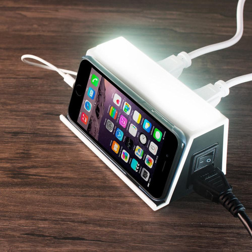 Universal 4In1 Usb Ports 2 Outlets With Led Night Light Trave Charging Station