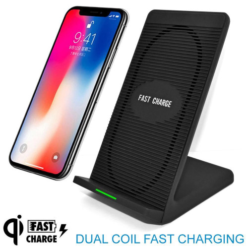 Universal Qi Wireless Fast Charging Stand Dock With Micro Usb Black