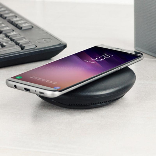 Universal Qi Wireless Fast Charging Leather Stand Pad With Micro Usb Black