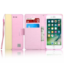 Iphone 8 / 7 Leather Wallet Pouch Card Slot Case Cover Pink