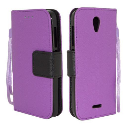 Alcatel One Touch Pop Astro / 5042 Leather Wallet Pouch Case Cover Purple