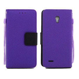 Alcatel One Touch Conquest 7046T Leather Wallet Pouch Case Cover Purple