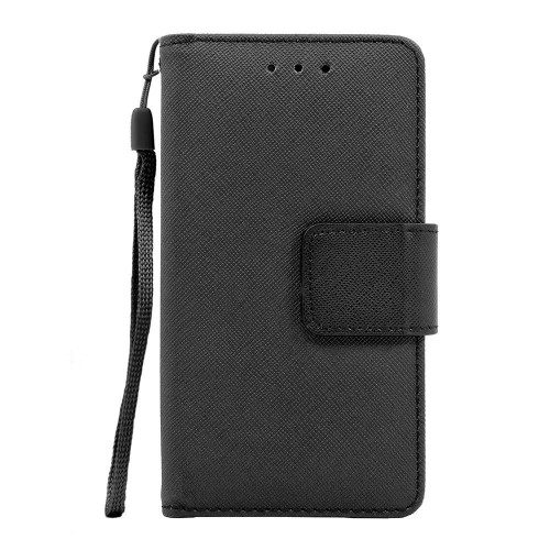 Lg K3 / Lg Ls450 Leather Wallet Pouch Case Cover Black