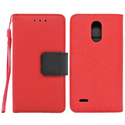 Lg Stylo 3 / Lg Stylus 3 / Lg Stylo 3 Plus / Ls777 Leather Wallet Pouch Case Cover Red