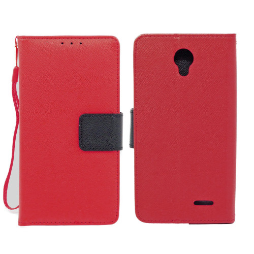 Zte Prestige / N9132 Leather Wallet Pouch Case Cover Red