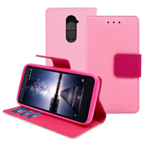 Zte Zmax Pro / Z981 Leather Wallet Pouch Case Cover Pink