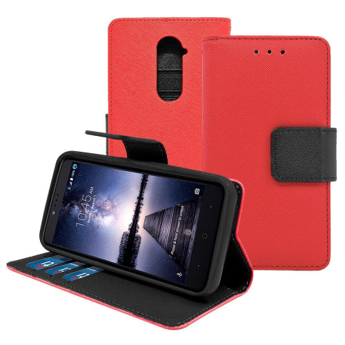 Zte Zmax Pro / Z981 Leather Wallet Pouch Case Cover Red