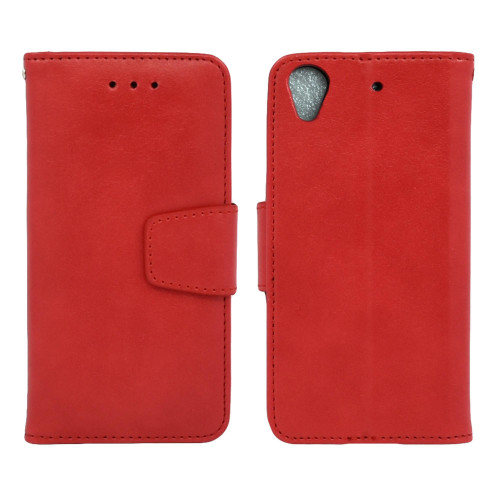 Htc Desire 626 / 626S Folio Leather Wallet Pouch Case Cover Red