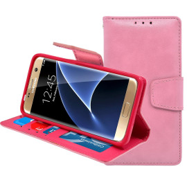 Samsung Galaxy S7 Edge Folio Leather Wallet Pouch Case Cover Pink