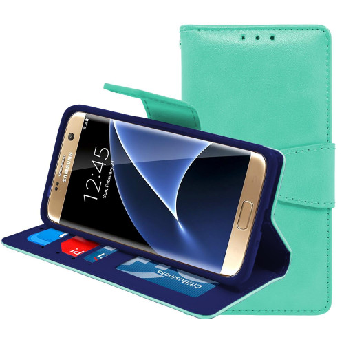 Samsung Galaxy S7 Folio Leather Wallet Pouch Case Cover Light Green