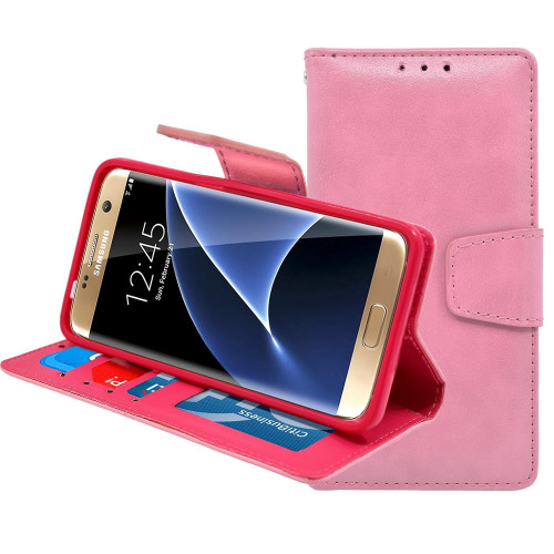 Samsung Galaxy S7 Folio Leather Wallet Pouch Case Cover Pink