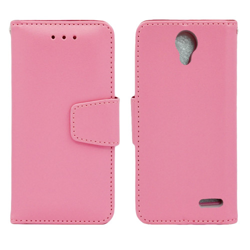 Zte Prestige / N9132 Edge Folio Leather Wallet Pouch Case Cover Pink