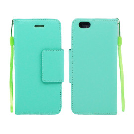 Iphone 6 / 6S Plus Folio Leather Wallet Pouch Case Cover Light Green