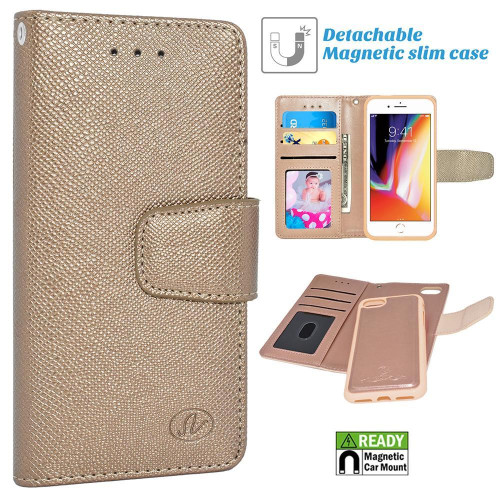 Apple Iphone 8 / 7 Folio Leather Removable Magnetic Wallet Case Cover Gold