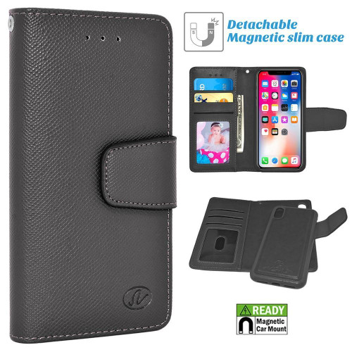 Apple Iphone X / 10 Folio Leather Removable Magnetic Wallet Case Cover Black