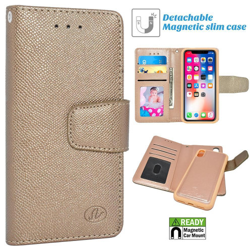 Apple Iphone X / 10 Folio Leather Removable Magnetic Wallet Case Cover Gold