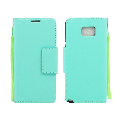 Samsung Galaxy Note 5 Folio Leather Wallet Pouch Case Cover Light Green