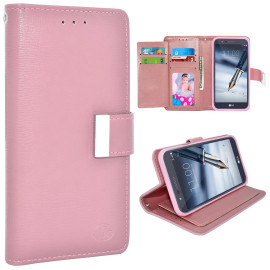 Lg Stylo 3 / Stylus 3 / Ls777 / Stylo 3 Plus / Tp450 Double Flap Folio Leather Wallet Pouch Case Cover Pink