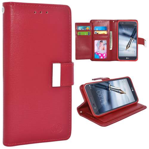 Lg Stylo 3 / Stylus 3 / Ls777 / Stylo 3 Plus / Tp450 Double Flap Folio Leather Wallet Pouch Case Cover Red