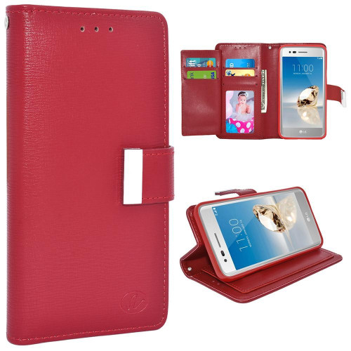 Lg Lv3 / Ms210 / Aristo / Fortune / Phoenix 3 / K8 2017 Double Flap Folio Leather Wallet Pouch Case Cover Red