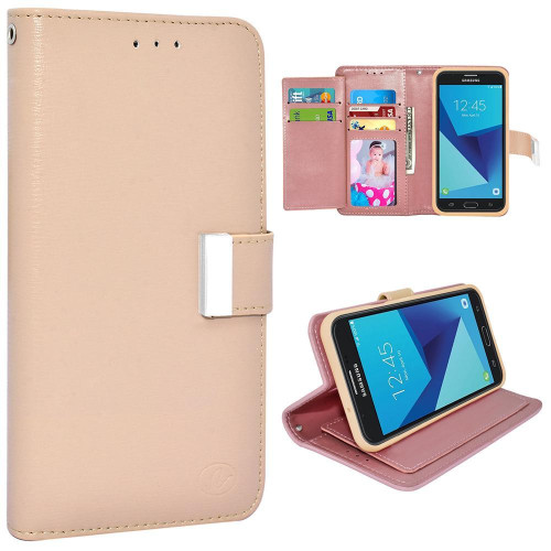 Samsung Galaxy On 7 2016 / J7 Prime / J7 2017 Double Flap Folio Leather Wallet Pouch Case Cover Gold