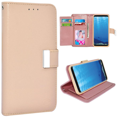 Samsung Galaxy S8 Plus / G955 Double Flap Folio Leather Wallet Pouch Case Cover Pink