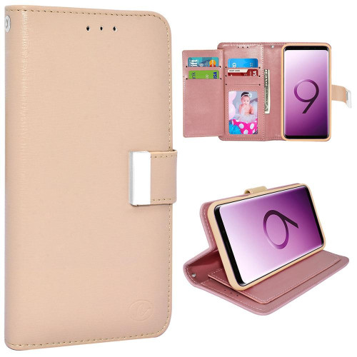 Samsung Galaxy S9 Plus Double Flap Folio Leather Wallet Pouch Case Cover Pink