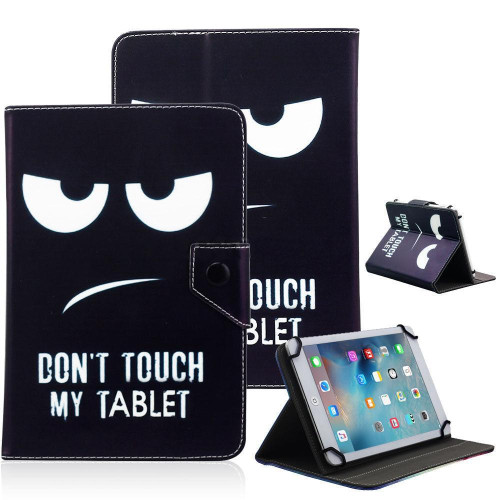 Universal 10 Tablet Flip Pu Leather Folio Case Stand Cover Black (Don'T Touch My Tablet)