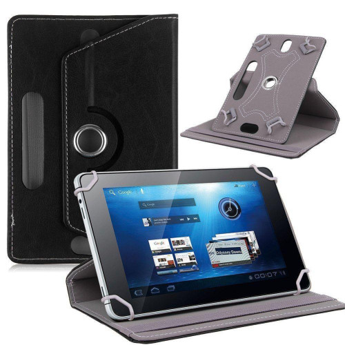 "Universal 7"" Tablet Pu Leather Folio 360 Degree Rotating Stand Case Cover Black"
