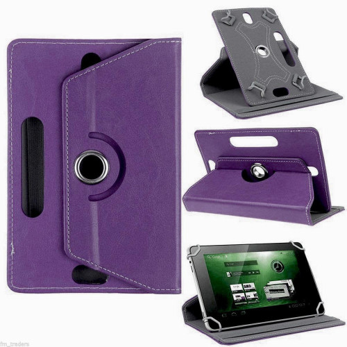 "Universal 7"" Tablet Pu Leather Folio 360 Degree Rotating Stand Case Cover Purple"