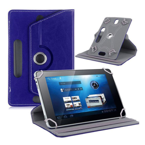 "Universal 8"" Tablet Pu Leather Folio 360 Degree Rotating Stand Case Cover Blue"