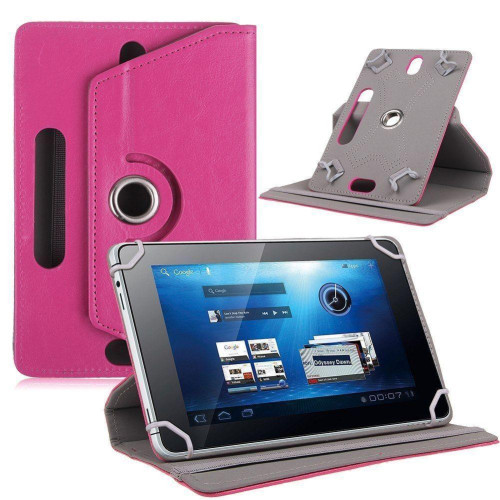 "Universal 8"" Tablet Pu Leather Folio 360 Degree Rotating Stand Case Cover Pink"