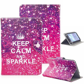 Universal 8 Tablet Flip Pu Leather Folio Case Stand Cover Pink (Keep Calm & Sparkle)
