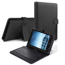 Lg G Pad F2 8.0 / Lk460 Tablet Flip Pu Leather Folio Keyboard Case Stand Cover Black