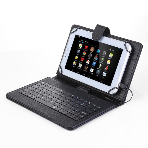 "Universal 7"" Tablet Flip Pu Leather Folio Keyboard Case Stand Cover Black"