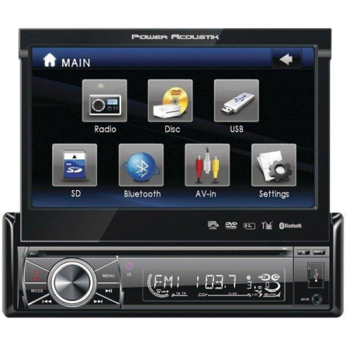 """7"""" Single-Din In-Dash Motorized Lcd Touchscreen Dvd Receiver With Detachable Face (With Bluetooth(R))"""