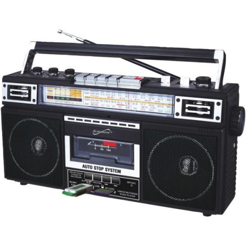 Retro 4-Band Radio And Cassette Player With Bluetooth(R) (Black)