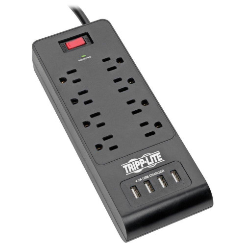 Protect It!(R) 8-Outlet Surge Protector With 4 Usb Ports, 6Ft Cord