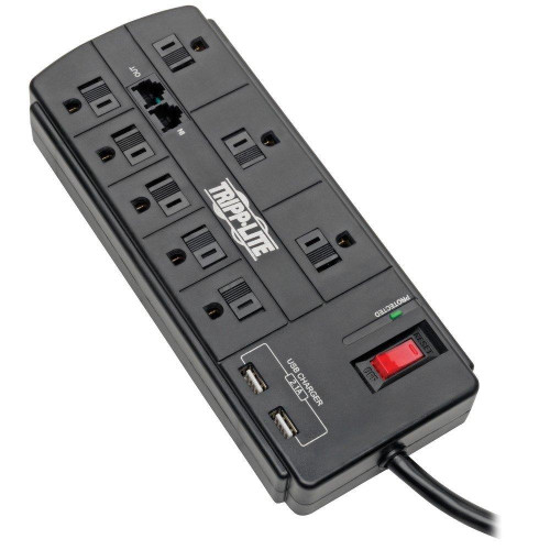 Protect It!(R) 8-Outlet Surge Protector With 2 Usb Ports, 8Ft Cord (Telephone/Modem)