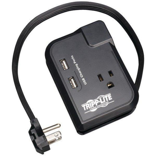 3-Outlet Travel-Size Surge Protector With 2 Usb Ports