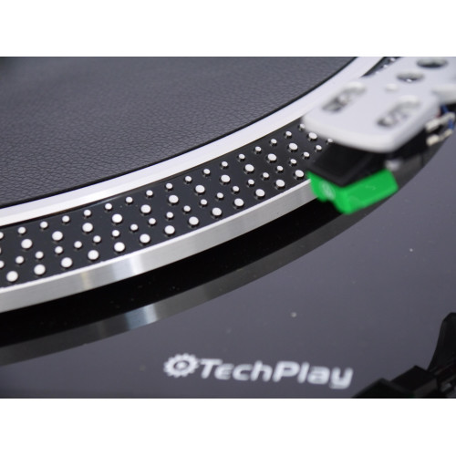 Techplay Iep212 Blk Leatherette Anti Static Turntable Mat In Bla