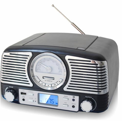 Techplay Qt62Bt Bk, Retro Design Compact Stereo Cd, With Am/Fm R