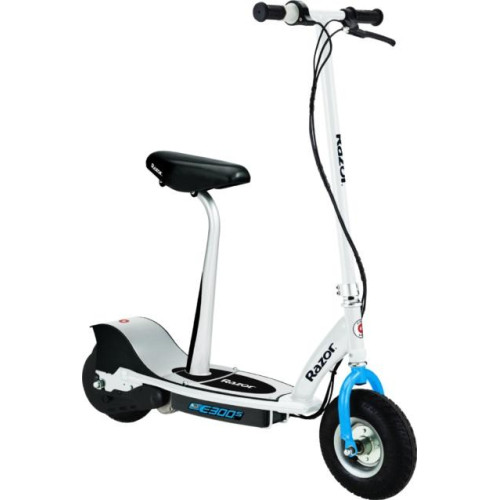 E300S Seated Electric Scooter - White/Blue